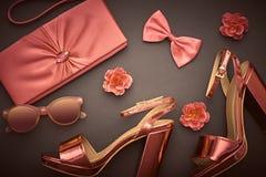 Fashion Design Woman Accessories Set.Glamor Makeup. Fashion Design Woman Accessories Set. Trendy fashion Sunglasses, Handbag Clutch. Glamor Metallic Pink Fuchsia Royalty Free Stock Image