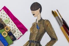 Fashion designe sketch. Shoot of fashion designe sketch royalty free stock images