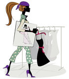 Fashion designer. A fashion designer walking with her sketch and a dress in her shop royalty free illustration