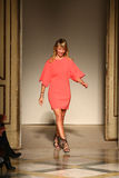 Fashion designer Chicca Lualdi acknowledges the applause of the audience after the Chicca Lualdi show Stock Photos
