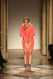 Fashion designer Chicca Lualdi acknowledges the applause of the audience after the Chicca Lualdi show Stock Images