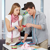 Fashion designer choosing yarn Royalty Free Stock Photo