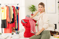 Fashion Designer With Creation On Mannequin Royalty Free Stock Photo