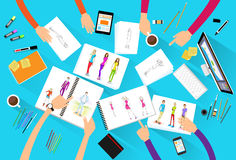 Fashion designer creative team looking models. Photograph flat design top angle view vector illustration Stock Images
