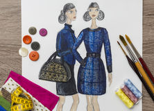 Fashion Designer Drawing Stock Image