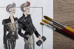 Fashion Designer Drawing Stock Photography