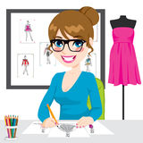Fashion Designer Drawing Sketches Stock Images