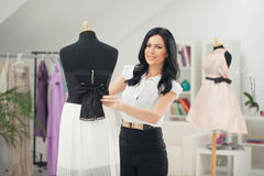 Fashion Designer at Her Studio Royalty Free Stock Photos