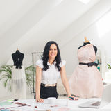 Fashion Designer at Her Studio Stock Photos