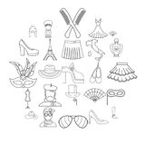 Fashion designer icons set, outline style. Fashion designer icons set. Outline set of 25 fashion designer vector icons for web isolated on white background Stock Photo