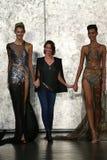Fashion designer Inbal Dror (C) and models walk at Inbal Dror Bridal Fall Winter 2016 Runway Show Stock Photography