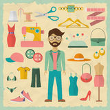 Fashion designer male character design with Royalty Free Stock Images