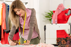 Fashion Designer With Sewing Pattern Stock Photography
