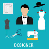 Fashion designer with sewing tools and clothing Royalty Free Stock Photo