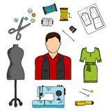 Fashion designer with sewing tools colored sketch Stock Images