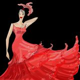 Fashion designer  sketch. A sketch of beautiful woman in red dress over black background (my own digital painting creation Stock Images