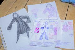 Fashion designer sketch. Drawing costume concept stock photography
