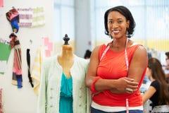 Fashion Designer In Studio. Smiling stock photo