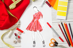 Fashion designer. Fashion designer studio with equipment. Close up design Royalty Free Stock Photography