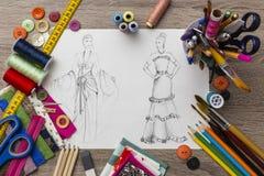 Fashion designer table Royalty Free Stock Image