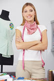 Fashion designer with tape measure Royalty Free Stock Photography