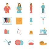 Fashion designer tools icon set. Colorful clothes and fashion designer tools and materials flat icon set isolated vector illustration Stock Image