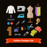 Fashion designer tools and materials. Flat icon set. EPS 10 vector Royalty Free Stock Images