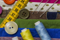 Fashion designer tools. Shoot of fashion designer accessories Stock Images
