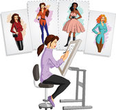 Fashion designer. Vector illustration of a creative fashion designer doing sketch at the draft board, on sample drawings background Royalty Free Stock Photography
