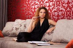 Fashion designer at work. Fashion designer is worker under new collection stock illustration