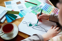 Fashion Designer Working on Collection Royalty Free Stock Photography