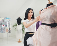 Fashion Designer Working at Her Studio Royalty Free Stock Photography