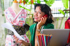Fashion designer working at home Royalty Free Stock Photos