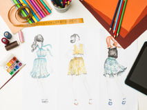 Fashion designer workspace Royalty Free Stock Photo