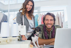 Fashion designers and chihuahua Stock Photography