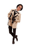 Fashion detective undercover posing on a white background Royalty Free Stock Images