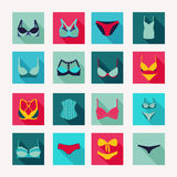 Fashion Different types icons of bras and pants Stock Photos