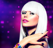 Disco Party Girl. Fashion Disco Party Girl Portrait. Purple Makeup and White Hair Stock Photo