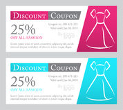 Fashion discount coupon with line illustration of Royalty Free Stock Photography