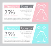 Fashion discount coupon with line illustration of Stock Photography