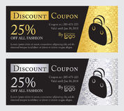 Fashion discount coupon with line illustration of Stock Images
