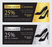 Fashion discount coupon with line illustration  Royalty Free Stock Photos