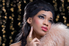 Fashion diva. Young beautiful woman at the party stock photos