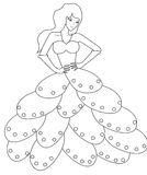 Fashion doll coloring page Stock Images