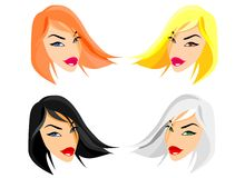 Fashion Dolls Faces. A new version of fashion dolls. In 2008 they change hair-style with a regular cut vector illustration