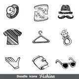 Fashion doodle icon set Royalty Free Stock Photos
