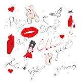 Fashion doodles on white Royalty Free Stock Photos