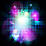 Fashion dotted bokeh background with rays. Stock Image