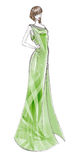 Fashion dress. Colored sketch of green long dress Royalty Free Stock Image