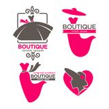 Dress boutique or fashion dress and hat atelier salon vector icons set. Fashion dress boutique or woman tailor salon logo templates. Vector isolated retro icons Stock Photo